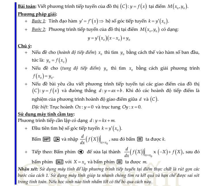 phương trình tiếp tuyến 1