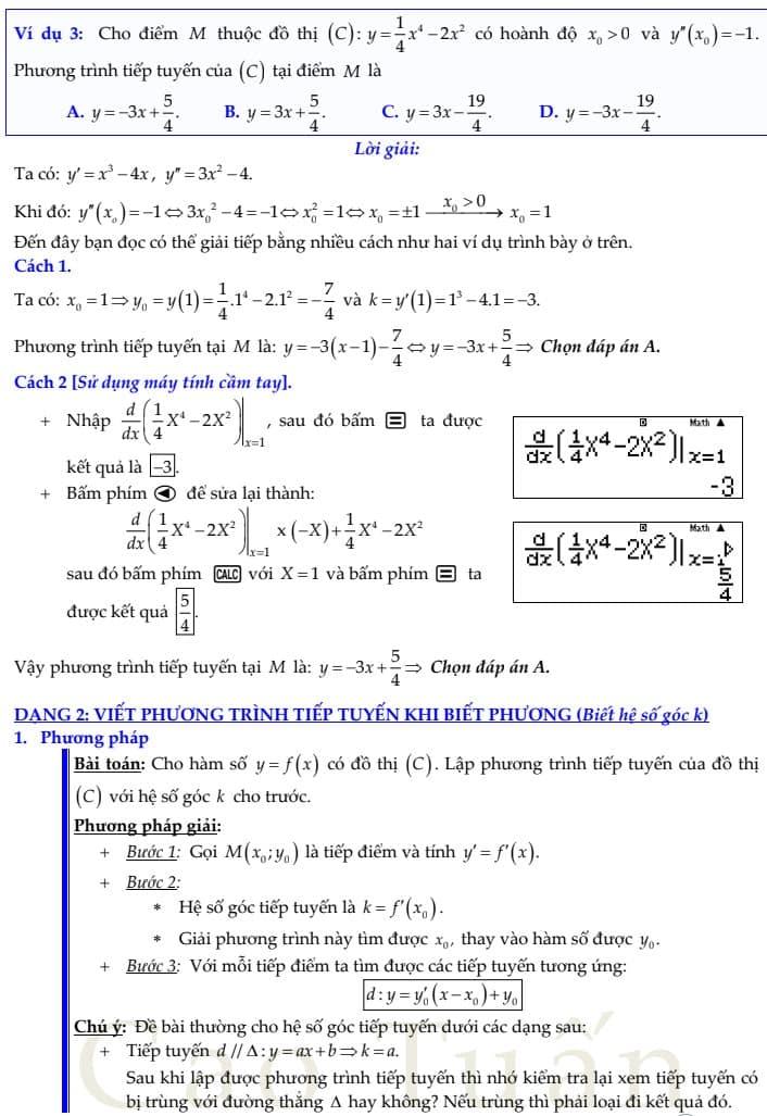 phương trình tiếp tuyến 2