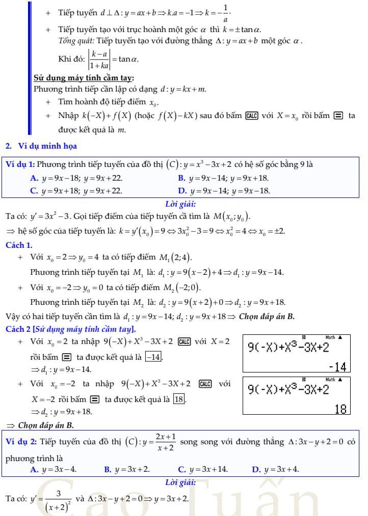 phương trình tiếp tuyến 3