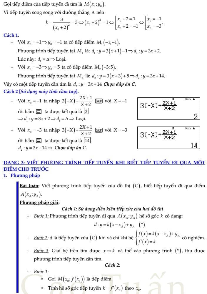 phương trình tiếp tuyến 4