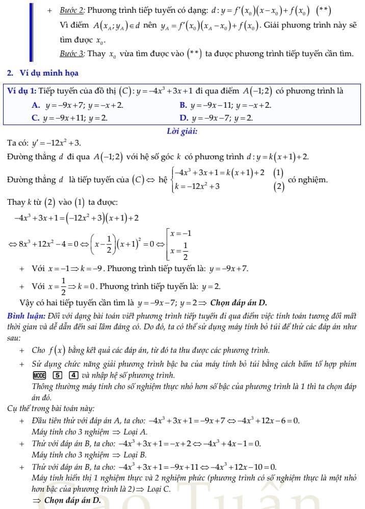 phương trình tiếp tuyến 5