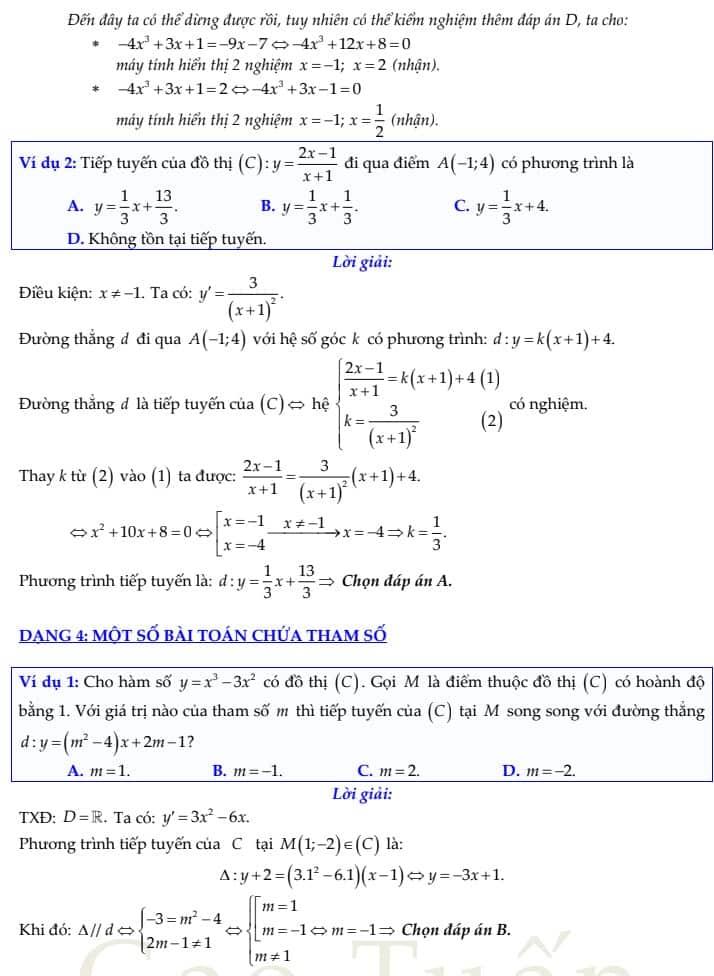 phương trình tiếp tuyến 6