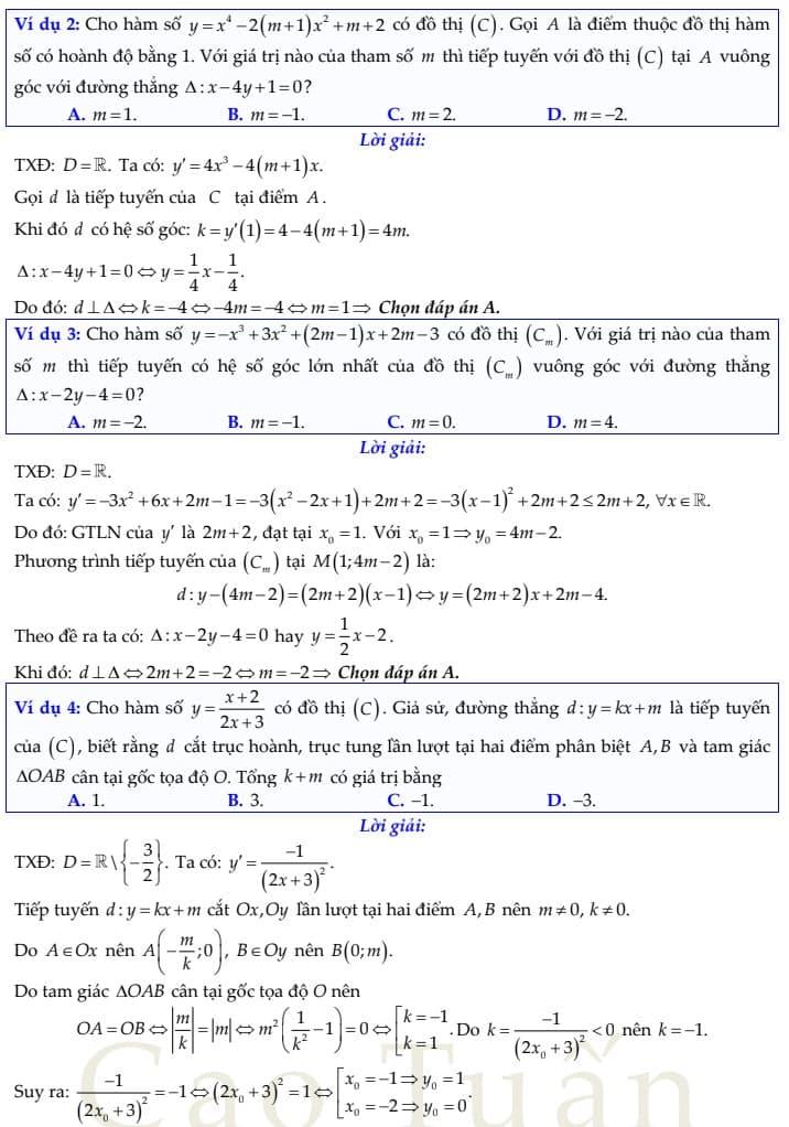 phương trình tiếp tuyến 7