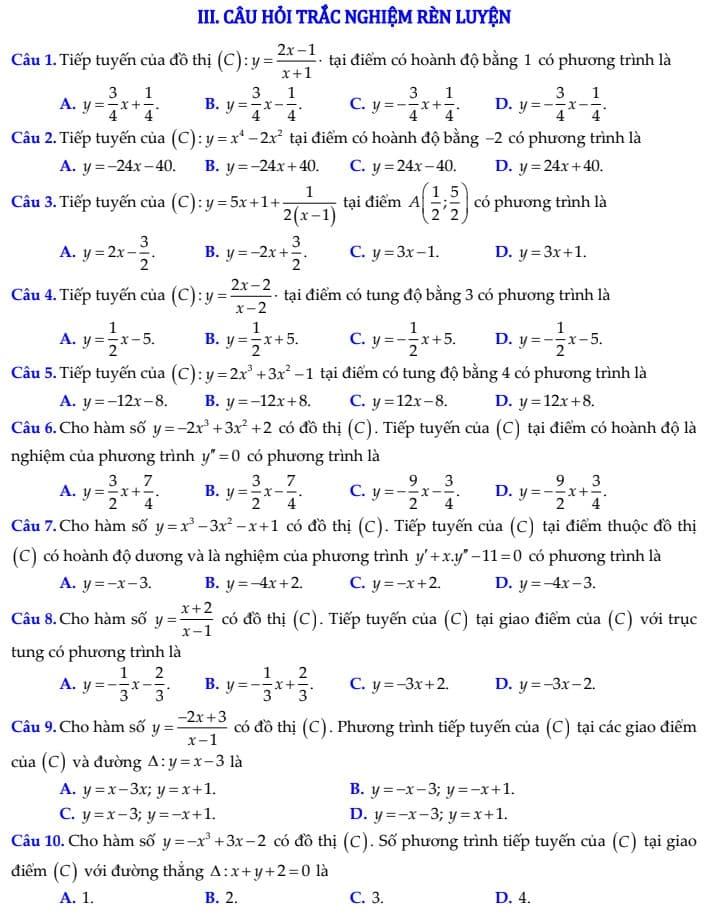 phương trình tiếp tuyến 10