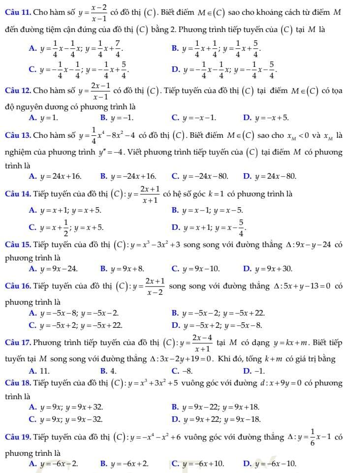 phương trình tiếp tuyến 11