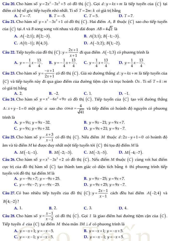 phương trình tiếp tuyến 12